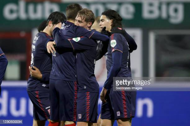 Jesse Bosch of FC Twente celebrates 0-3 with Ramiz Zerrouki of FC Twente, Queensy Menig of FC Twente during the Dutch Eredivisie match between FC...