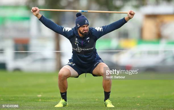 Jesse Bromwich of the Melbourne Storm performs a fitness test during a Melbourne Storm NRL training session at Gosch's Paddock on June 14 2018 in...