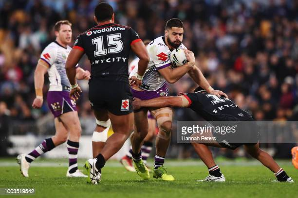 Jesse Bromwich of the Storm charges forward during the round 19 NRL match between the New Zealand Warriors and the Melbourne Storm at Mt Smart...
