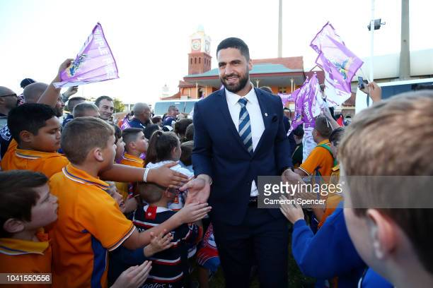 Jesse Bromwich of the Storm is welcomed by fans during the 2018 NRL Fan Day at the Entertainment Quarter on September 27 2018 in Sydney Australia