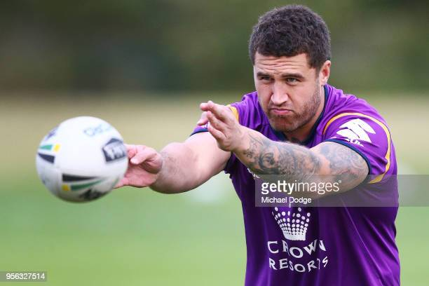 Jesse Bromwich of the Storm passes the ball during a Melbourne Storm NRL training session at AAMI Park on May 9 2018 in Melbourne Australia