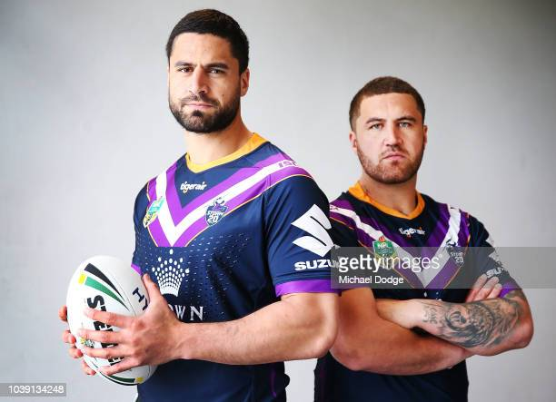 Jesse Bromwich of the Storm poses with brother Kenny Browmwich during a Melbourne Storm NRL media opportunity at AAMI Park on September 24 2018 in...