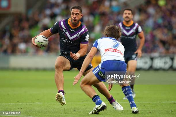 Jesse Bromwich of the Storm runs with the ball during the round four NRL match between the Melbourne Storm and the Canterbury Bulldogs at AAMI Park...