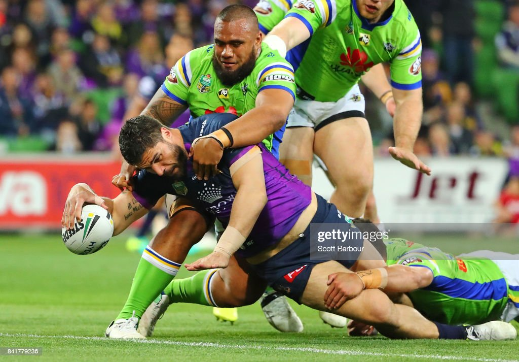 Jesse Bromwich of the Storm scores a try during the round 26 NRL match between the Melbourne Storm and the Canberra Raiders at AAMI Park on September 2, 2017 in Melbourne, Australia.