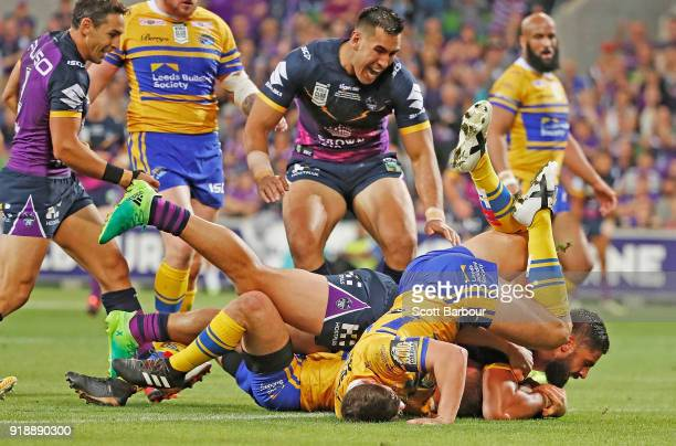 Jesse Bromwich of the Storm scores a try during the World Club Challenge match between the Melbourne Storm and the Leeds Rhinos at AAMI Park on...