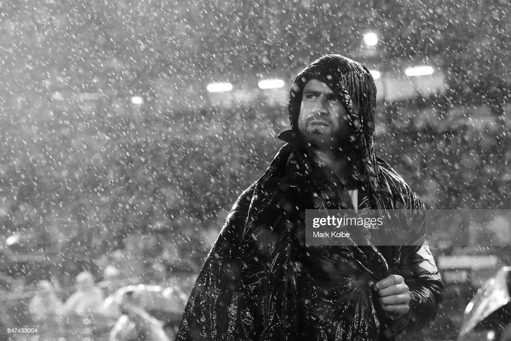 Jesse Bromwich of the Storm watches on from the sideline with an injury during the round one NRL match between the Canterbury Bulldogs and the Melbourne Storm at Belmore Sports Ground on March 3, 2017 in Sydney, Australia.