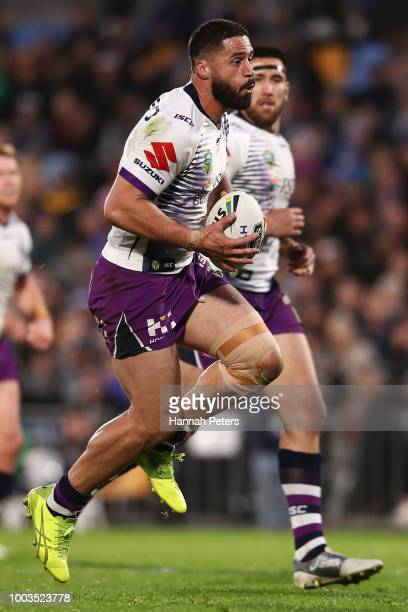 Jesse Bromwich of the Warriors charges forward during the round 19 NRL match between the New Zealand Warriors and the Melbourne Storm at Mt Smart...