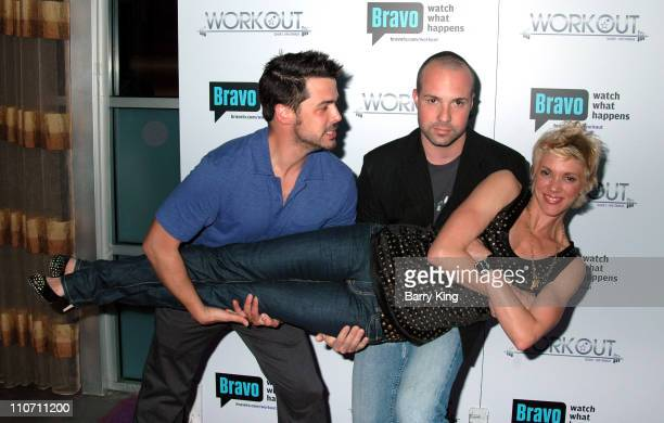 Jesse Brune Brian Peeler and Jackie Warner during Bravo's Workout Series Season 2 Premiere Party Inside at HERE Bar Lounge in West Hollywood CA...