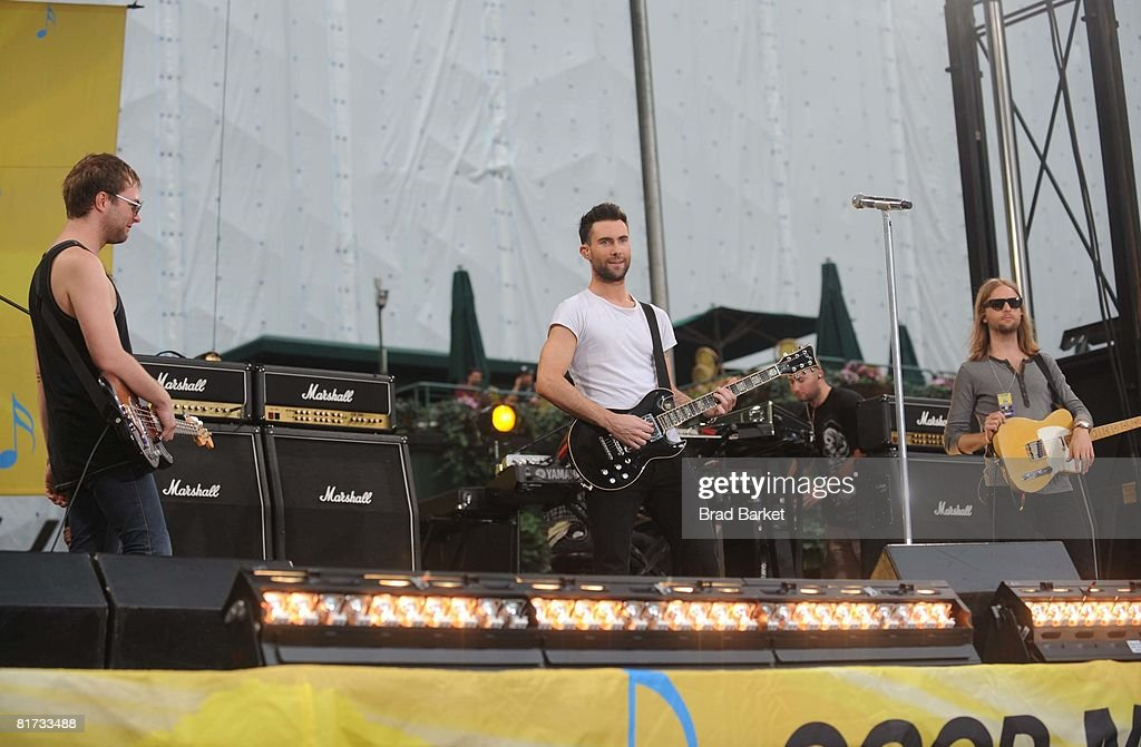 Jesse Carmichael, Adam Levine and James Valentine of Maroon 5 perform on ABC's 'Good Morning America' on June 27, 2008 at Bryant Park in New York City.