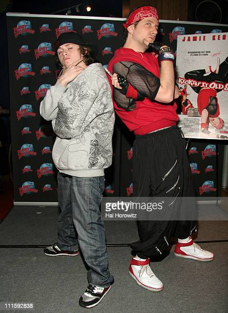 Jesse Casper Lee Brown and Jamie Kennedy during Jamie Kennedy and Casper Promote Their Film Kickin' It Old Skool at Planet Hollywood Times Square at...