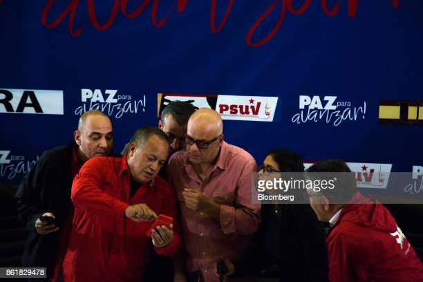 Jesse Chacon Venezuela's electricity minister from left Diosdado Cabello vice president of the United Socialist Party Tareck El Aissami vice...