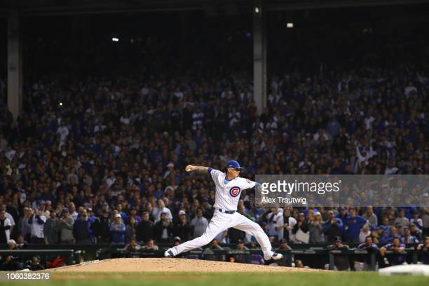 Jesse Chavez of the Chicago Cubs pitches during the National League Wild Card game against the Colorado Rockies at Wrigley Field on Tuesday October 2...