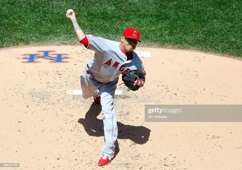 Jesse Chavez #40 of the Los Angeles Angels of Anaheim pitches in the first inning against the New York Mets at Citi Field on May 21, 2017 in the Flushing neighborhood of the Queens borough of New York City.