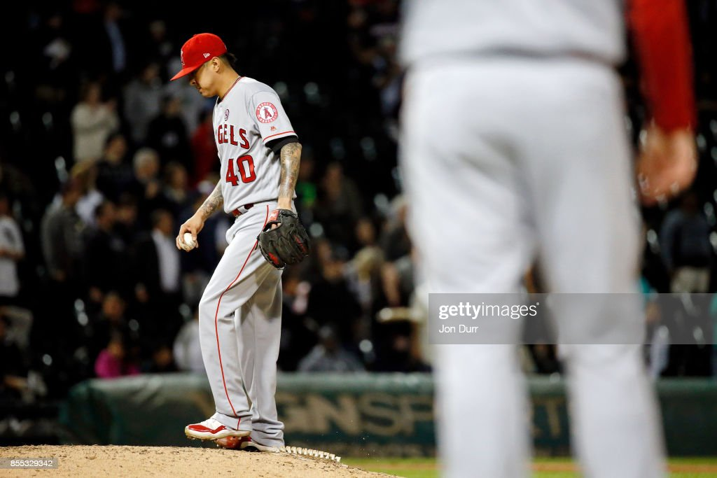 Jesse Chavez #40 of the Los Angeles Angels of Anaheim reacts after giving up a two run home run to Rob Brantly #44 of the Chicago White Sox (not pictured) during the eighth inning at Guaranteed Rate Field on September 28, 2017 in Chicago, Illinois. The Chicago White Sox won 5-4.