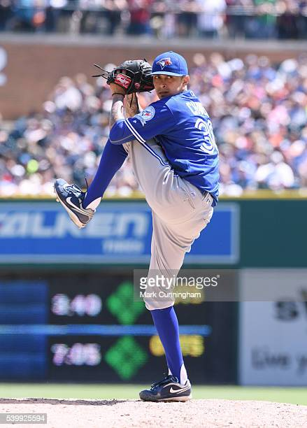 Jesse Chavez of the Toronto Blue Jays pitches during the game against the Detroit Tigers at Comerica Park on June 8 2016 in Detroit Michigan The Blue...