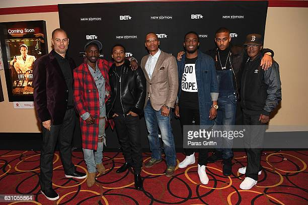 Jesse Collins Elijah Kelley Algee Smith Ronnie Devoe Woody McClain Keith Powers and Brooke Payne attend BET's Atlanta screening of The New Edition...