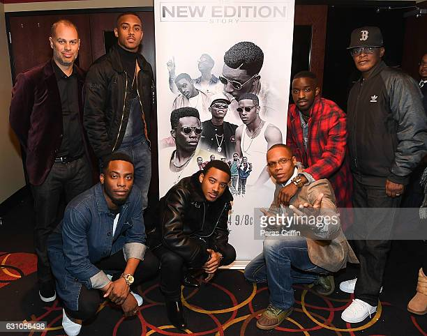 Jesse Collins Keith Powers Woody McClain Algee Smith Ronnie Devoe Elijah Kelley and Brook Payne attend BET's Atlanta screening of The New Edition...