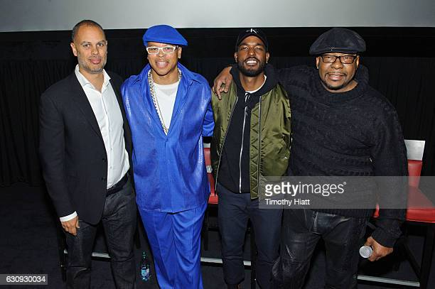 Jesse Collins V103's Ramonski Luv Luke James and Bobby Brown attend BET's screening of The New Edition Story on January 3 2017 in Chicago Illinois