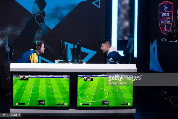 Jesse Da Silva of the Central Coast Mariners and Rick Tran of Melbourne Victory are seen during the ELeague 2020 Premiers Plate at ESL Studios Sydney...