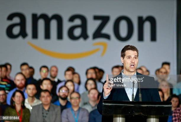 Jesse Dougherty, General Manager, Amazon Web Services, speaks during a press conference announcing a new Amazon Vancouver headquarters to bring 3,000...