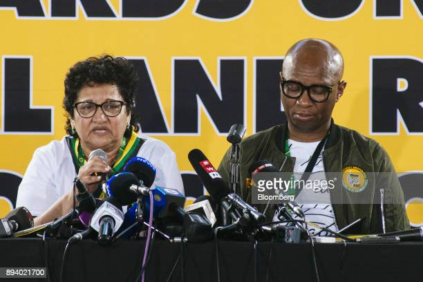 Jesse Duarte deputy secretarygeneral of the African National Congress party speaks alongside Zizi Kodw national spokesman for the party at a news...