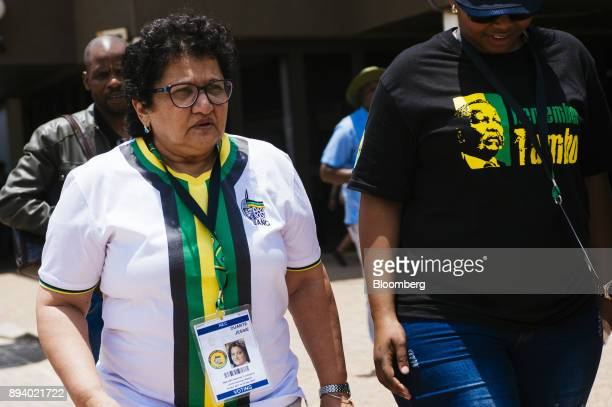 Jesse Duarte deputy secretarygeneral of the African National Congress party arrives for a news conference during the 54th national conference of the...