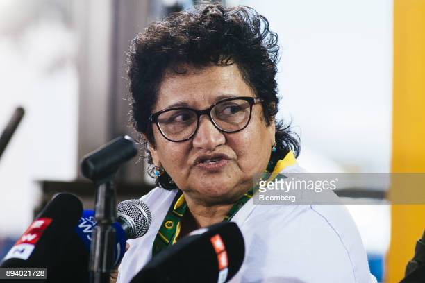 Jesse Duarte deputy secretarygeneral of the African National Congress party speaks at a news conference during the 54th national conference of the...