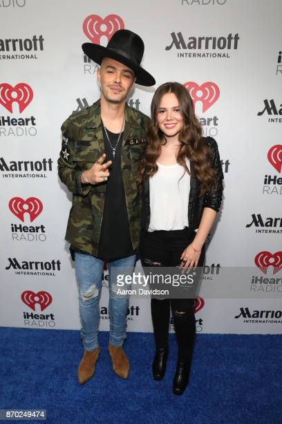 Jesse Eduardo Huerta and Tirzah Joy Huerta of Jesse y Joy attends the iHeartRadio Fiesta Latina Celebrating Our Heroes at American Airlines Arena on...