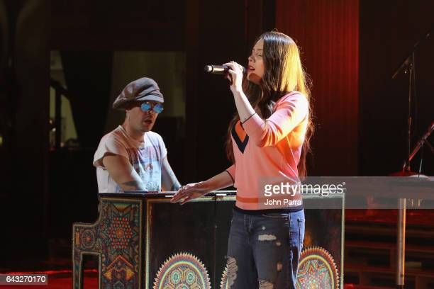 Jesse Eduardo Huerta Uecke and Tirzah Joy Huerta Uecke of Jesse y Joy rehearse on stage at Univision's 29th Edition Of Premio Lo Nuestro A La Musica...