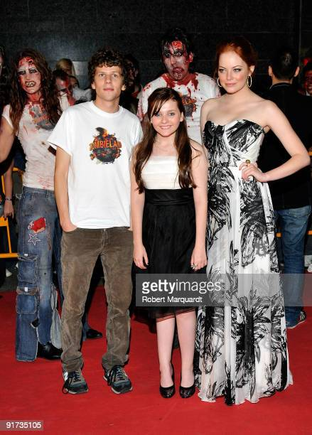 Jesse Eisenberg Abigail Breslin and Emma Stone attend the European Premiere for 'Zombieland' at the 42nd Sitges Film Festival on October 10 2009 in...