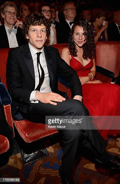 Jesse Eisenberg and Hallie Eisenberg attend The 67th Annual Tony Awards backstage at Radio City Music Hall on June 9 2013 in New York City