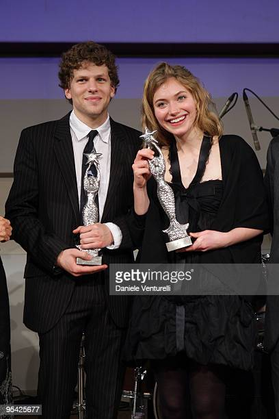 Jesse Eisenberg and Imogen Poots attend the first day of the 14th Annual Capri Hollywood International Film Festival on December 27 2009 in Capri...