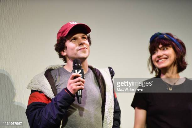 Jesse Eisenberg and Imogen Poots attend the The Art Of SelfDefense Premiere 2019 SXSW Conference and Festivals at Paramount Theatre on March 10 2019...