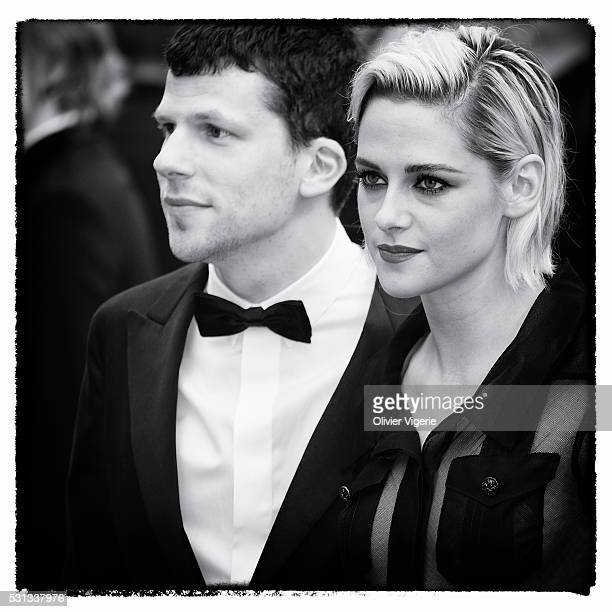 Jesse Eisenberg and Kristen Stewart attend the 'Cafe Society' premiere and the Opening Night Gala during The 69th Annual Cannes Film Festival on May...