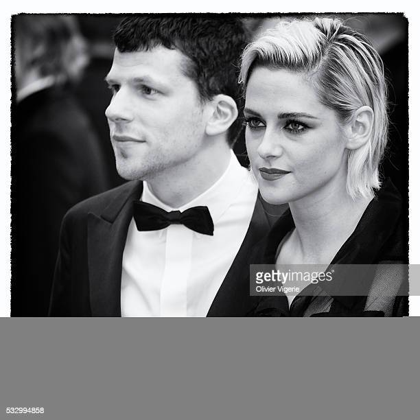 Jesse Eisenberg and Kristen Stewart attend the 'Cafe Society' premiere during the 69th annual Cannes Film Festival on may 12th 2016 in Cannes