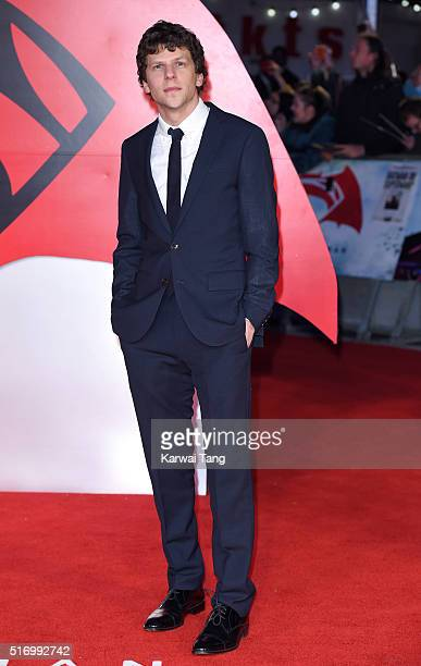 Jesse Eisenberg arrives for the European Premiere of 'Batman V Superman: Dawn Of Justice' at Odeon Leicester Square on March 22, 2016 in London,...