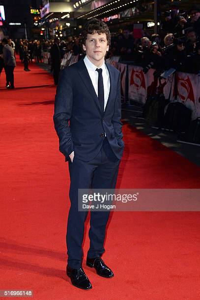 Jesse Eisenberg attends the European Premiere of 'Batman V Superman Dawn Of Justice' at Odeon Leicester Square on March 22 2016 in London England