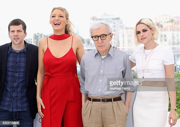 Jesse Eisenberg Blake Lively director Woody Allen and Kristen Stewart attend the 'Cafe Society' Photocall during The 69th Annual Cannes Film Festival...