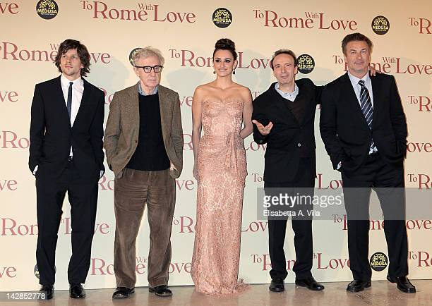 Jesse Eisenberg director Woody Allen Penelope Cruz Roberto Benigni and Alec Baldwin attend 'To Rome With Love' World Premiere at Auditorium Parco...
