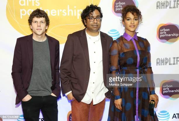 Jesse Eisenberg Hari Kondabolu and Megalyn Echikunwoke attend the Urban Arts Partnership's AmplifiED Gala at The Ziegfeld Ballroom on April 16 2018...