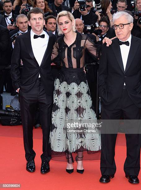 Jesse Eisenberg Kristen Stewart and Woody Allen attend the 'Cafe Society' premiere and the Opening Night Gala during the 69th annual Cannes Film...