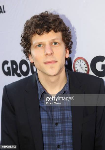 Jesse Eisenberg poses at the opening night of the new musical based on the film Groundhog Day on Broadway at The August Wilson Theatre on April 17...
