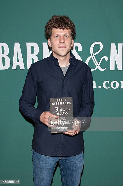 Jesse Eisenberg promotes his book 'Bream Gives Me Hiccups' at Barnes Noble Union Square on September 24 2015 in New York City