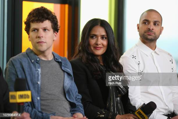 Jesse Eisenberg Salma Hayek and Michael Mando of 'The Hummingbird Project' attend The IMDb Studio presented By Land Rover At The 2018 Toronto...