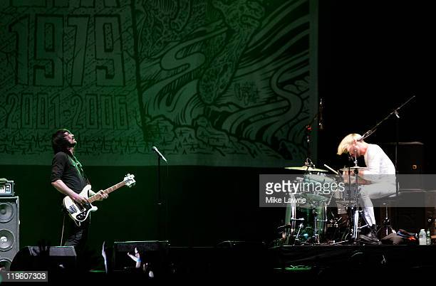 Jesse F Keeler and Sebastien Grainger of Death From Above 1979 perform at the Williamsburg Waterfront on July 22 2011 in New York City