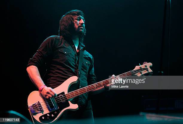 Jesse F Keeler of Death From Above 1979 performs at the Williamsburg Waterfront on July 22 2011 in New York City
