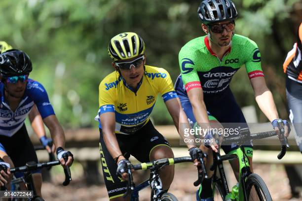 Jesse Featonby of Australia and the Drapac EF Cycling Team leads Esteban Chaves of Columbia and the MitcheltonScott Team Jayco Herald Sun Tour stage...