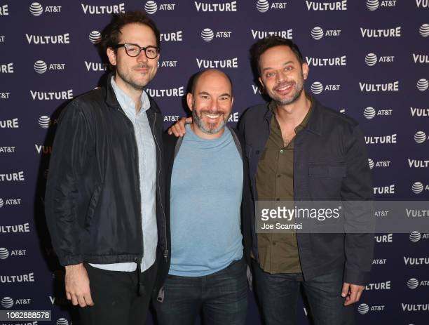 < Jesse Fox Andrew Goldberg and Nick Kroll speak during the 'Big Mouth One Man Table Read' during Vulture Festival presented by ATT at Hollywood...