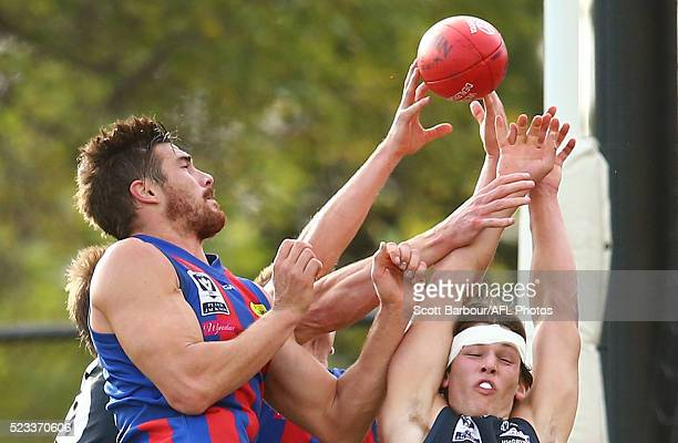 Jesse Glass-McCasker of the Northern Blues and Khan Haretuku of Port Melbourne during the VFL round 3 match between the Northern Blues and Port...
