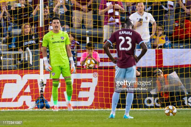 Jesse Gonzalez of FC Dallas yells to Kei Kamara of the Colorado Rapids prior to a penalty attempt during the first half at Dick's Sporting Goods Park...